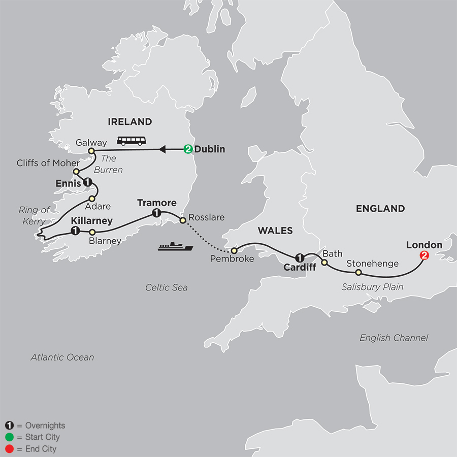 Map Dublin to London