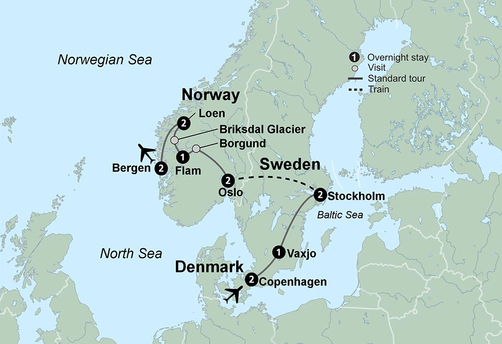 Spectacular Scandinavia Tour - Norway glacier map